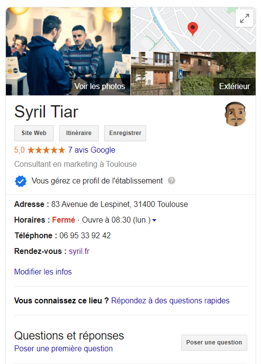 Fiche google business de syril tiar