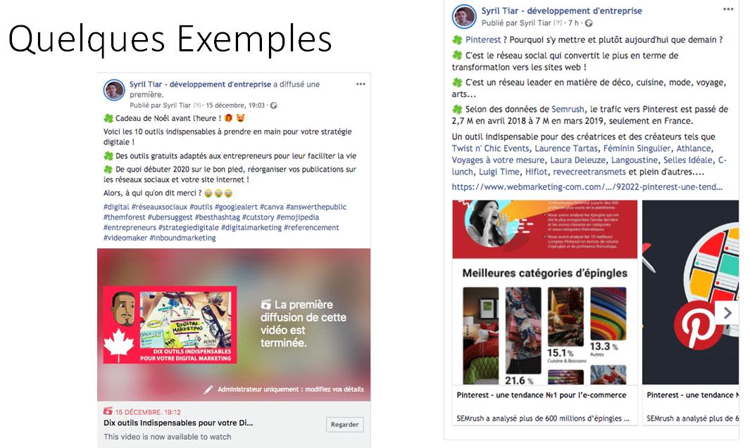 Cette image montre deux exemples de publication facebook